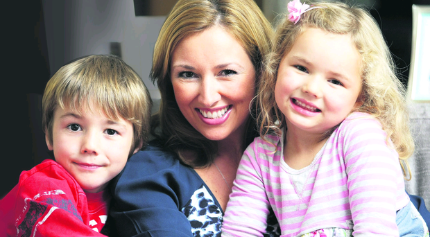 Claire McCollum who is fasting for 24 hours for Charity. Claire pictured with her children Samuel aged 6 and Rosa aged 3