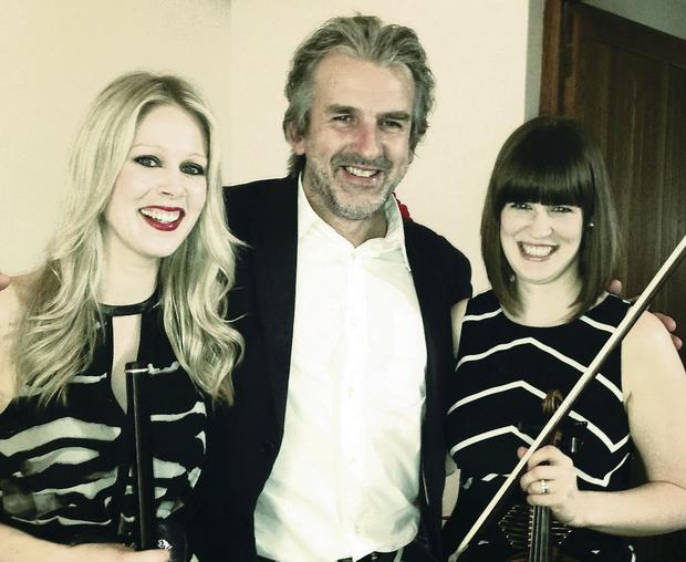 Sister act: Eimear (left) and Erin McGeown with Clandeboye director Barry Douglas