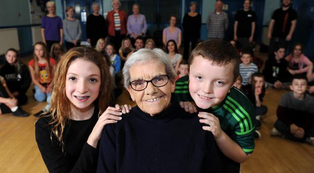 Generation game: Georgie Hoy (90) with dance members Leah Hamilton (12) and Cameron Lilley (9)