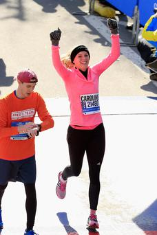 Marathon woman: Caroline Wozniacki finishes the New York event