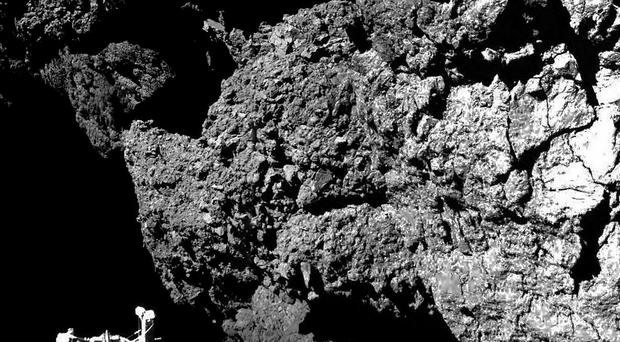 The surface of the 67P/Churyumov-Gerasimenko comet as seen from the Philae lander, which landed on the comet's surface