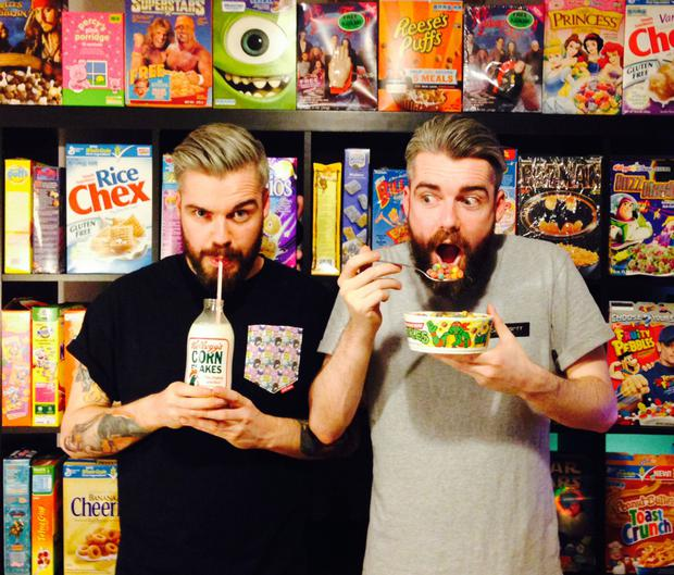 Milking it: Alan (left) and Garry Keery at their Cereal Killer Cafe in London
