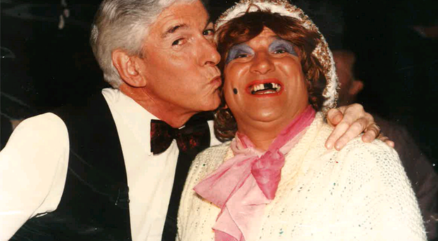 TV comedian Tom O'Connor and May McFettridge carry on for the cameras before the panto in 1991