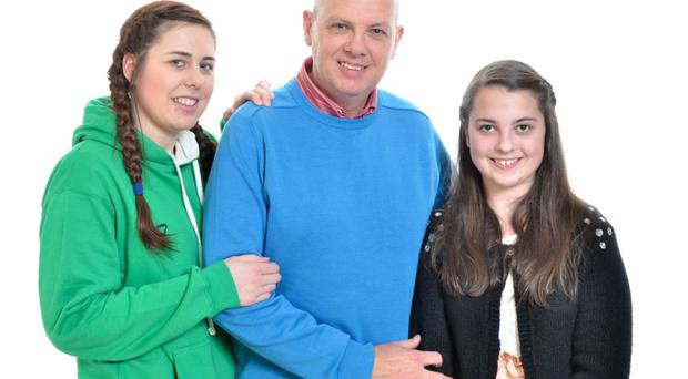 David Telford and his daughters, Emma (18) and Evie (12), sadly lost beloved mum Lorna (49) to cancer in September this year