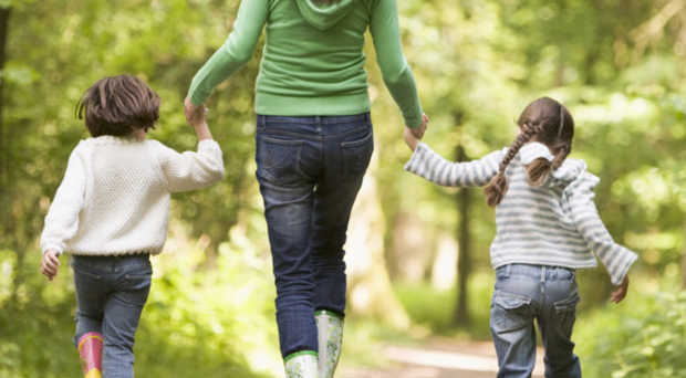 Life saver: taking the children for a walk a few times a week can improve your fitness