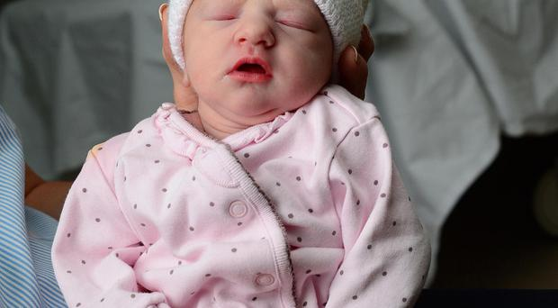 New Years day baby Sofia Molly Lucas from Lisburn born at 02.09am and weighs 5 pounds 13