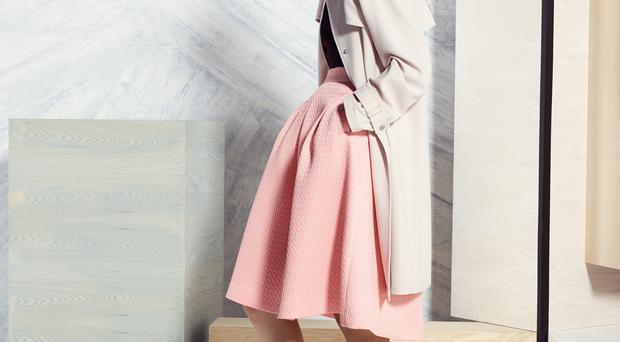 Coat, £65, available March, top, £25, skirt, £39.50, shoes, £25, available next month, Marks & Spencer