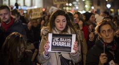 Street protest: a demonstrator in France after the Charlie Hebdo attack