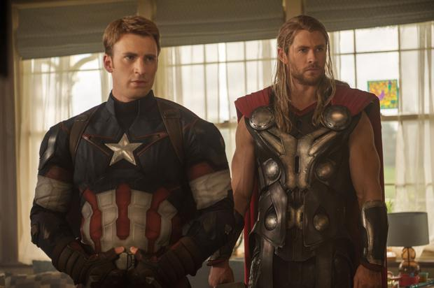 Double act: Chris Evans as Captain America and Chris Hemsworth as Thor