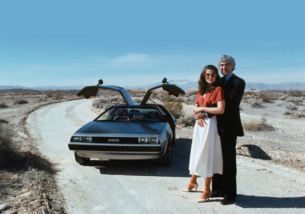 Twin passions: John Z DeLorean with his wife Cristina and the gull-winged DMC-12