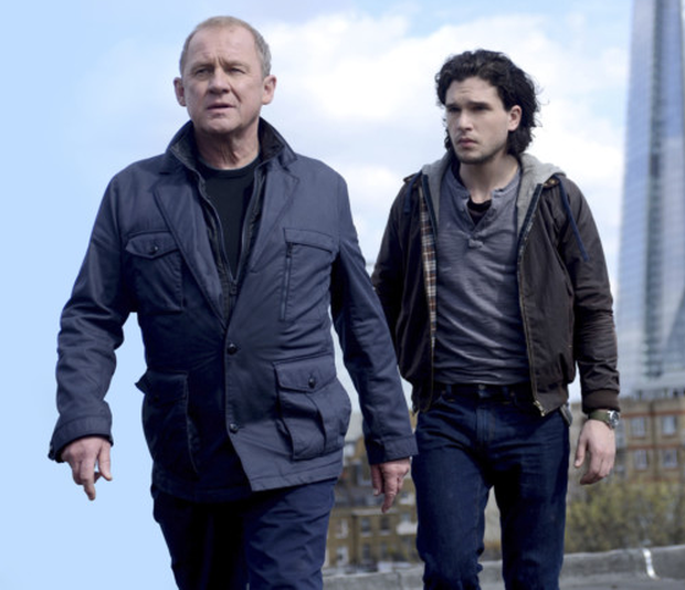 Secret service: Peter Firth, who reprises his role as Harry, with co-star Kit Harington, of Game of Thrones fame