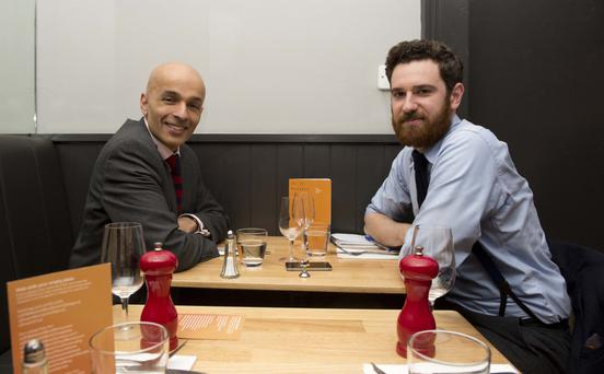 Game changer: Rajesh Rana (left) and Jamie Stinson await their 'man food' at Hadskis