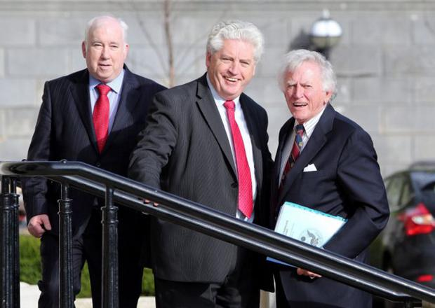 Helping hand: Gary Hart (right) with SDLP leader Alasdair McDonnell and party colleague Joe Byrne (left)