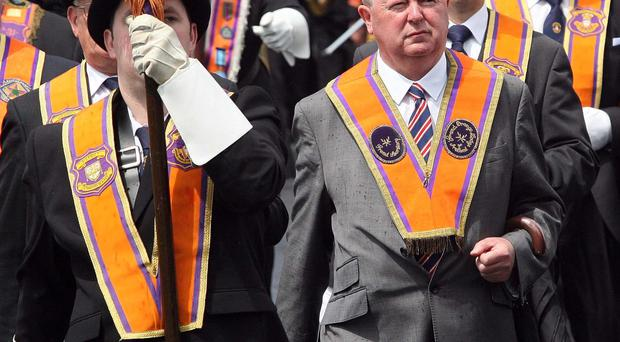 Marching on: Members of Portadown District LOL No1 at the annual parade at Drumcree Parish Church