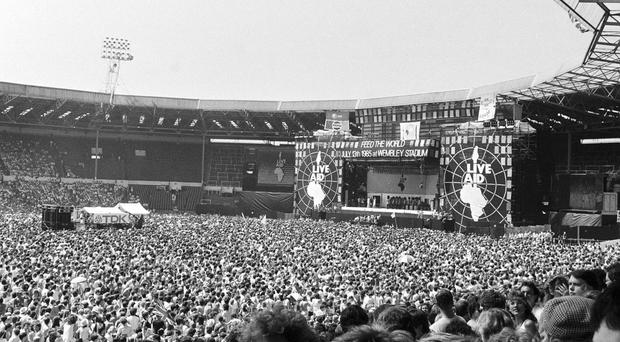 Live Aid at the Wembley Stadium in London