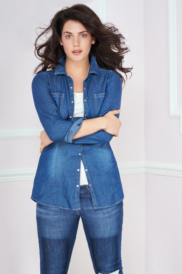 Shirt, £30, jeans, model's own, Simply Be