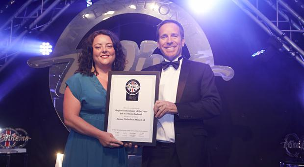 Kristin Collins of JN Wine is presented with the award by master of wine Sam Harrop