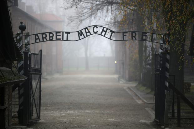The infamous German inscription that reads 'Work Sets You Free' at the main entrance of Auschwitz