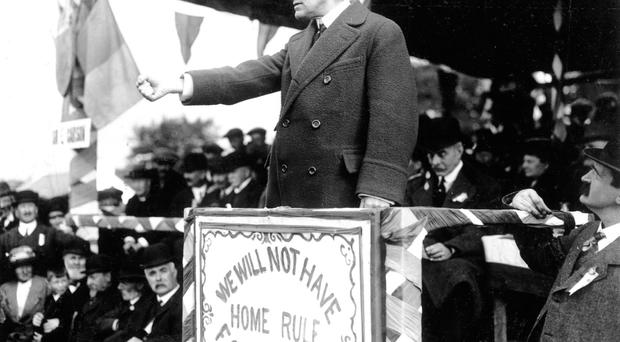 Grave suspicions: Sir Edward Carson saw the Rising as even more treacherous due to Britain's involvement in the First World War