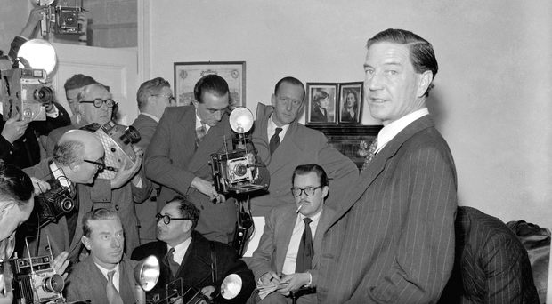 Former British diplomat Kim Philby who was at that time accused of spying for Russia, during a press conference at his parents' home in London on Nov. 8, 1955