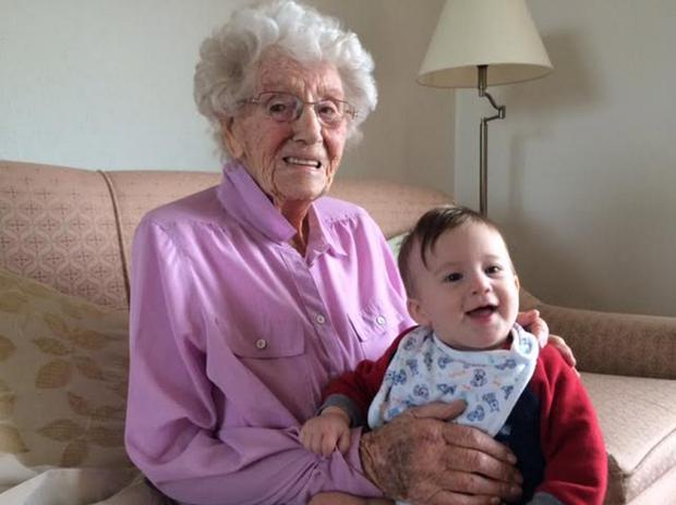 Eleanor with her great-grandchild Ben Butterwick