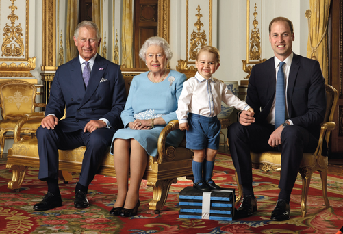Historic image: four generations of the royal family, from left, the Prince of Wales, Queen Elizabeth, Prince George and the Duke of Cambridge