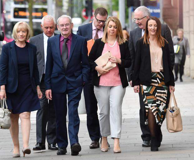 Lone survivor: Alan Black (third from left), family and friends attending the inquest into the Kingsmills massacre