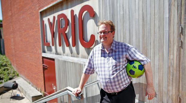 Gary Mitchell outside the Lyric Theatre taking a break from rehearsals of his new play