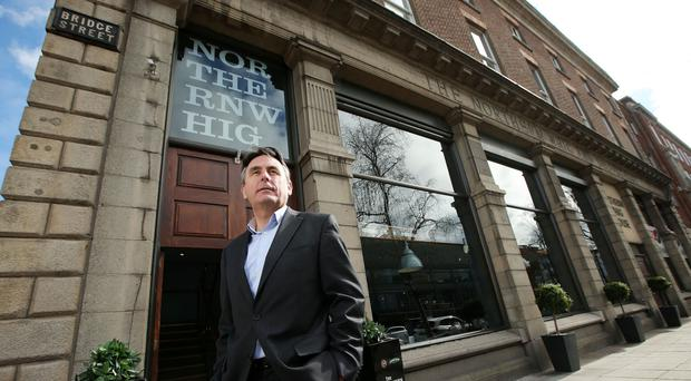 Stephen Magorrian, Managing Director of the Horatio Group outside the Northern Whig.