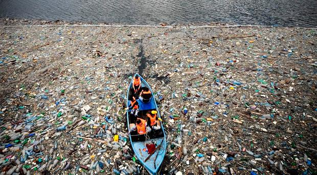 Growing problem: volunteers try to clear plastic from the sea
