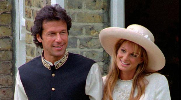 Celebrity couple: Imran Khan and Jemima Khan after their 1995 wedding in London