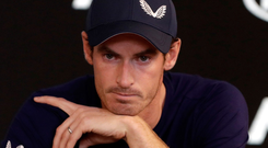 Final curtain: a tearful Andy Murray at his Press conference in Melbourne yesterday