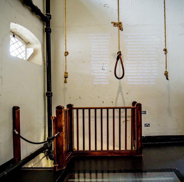 The grim sight of a noose within the prison walls