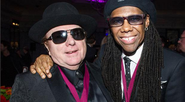 Nile Rodgers with Sir Van Morrison in 2014