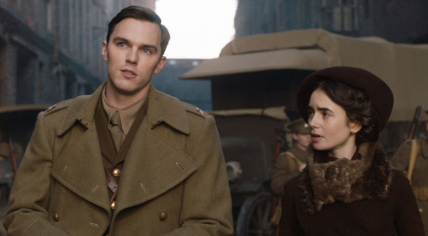 Love and war: Nicholas Hoult as JRR Tolkien with Lily Collins as Edith Bratt