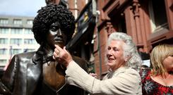 Philomena at the unveiling of Phil's statue in Dublin's Harry Street