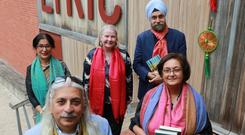 Clockwise from left: Sanjoy Roy, festival producer; Navtej Sarna, writer; Noirin McKinney, Arts Council; Reba Som, writer; and Namita Gokhale, writer and festival co-director at the Lyric Theatre in Belfast