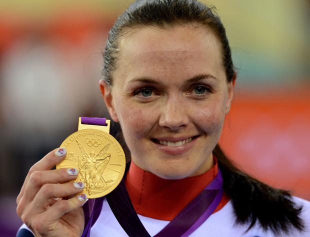 Victoria Pendleton and with her Olympic medal