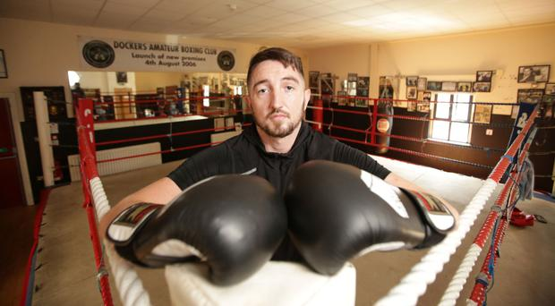 Fighting back: Christopher Downey at the Dockers Club, Belfast