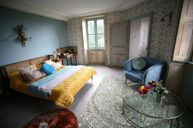 Vintage style: from left, One of the chateau's bedrooms