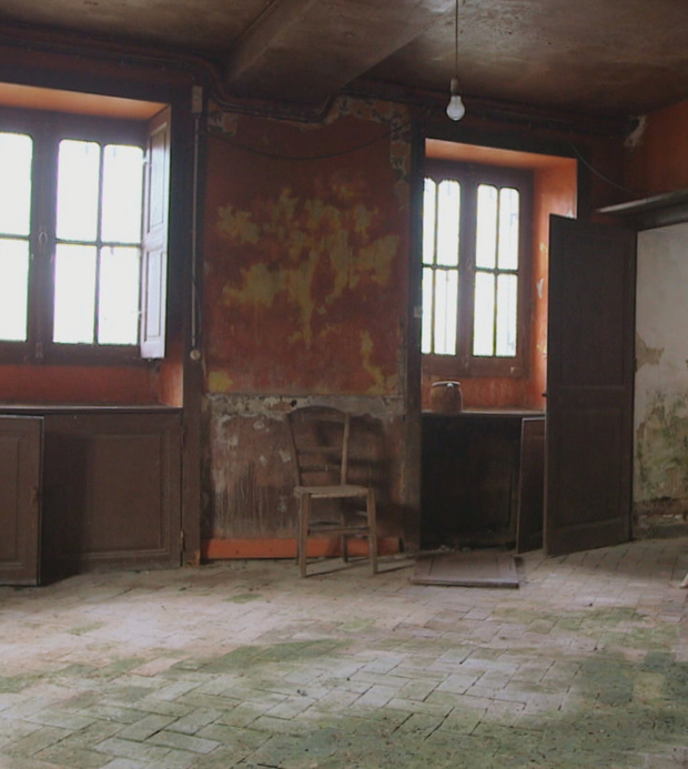 The kitchen before it was restored
