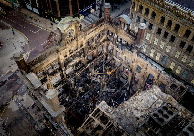 Gutted shell: Belfast Telegraph photographer Kevin Scott captured this aerial view of the burnt-out building
