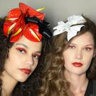 Seeing red: models backstage at Rodarte AW19, make-up by NARS