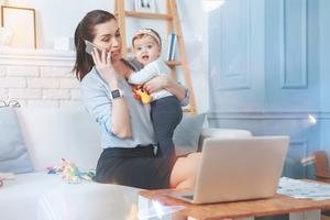 Balancing act: trying to work and look after the kids can prove to be a little chaotic