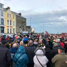 Public outcry: veterans and families hold a vigil to protest against the closure of the Royal British Legion's Bennet House in Portrush, Co Antrim