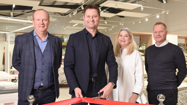 Proud day: at the new Bedeck showroom's official opening were, from left, Gary Irwin, joint managing director, TV presenter and architect George Clarke, Julie Hall, head of design, and Andrew Irwin, joint managing director