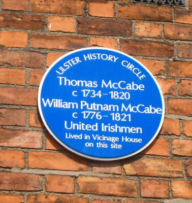 Former home: a blue plaque to Thomas McCabe on the wall at St Malachy's College in north Belfast