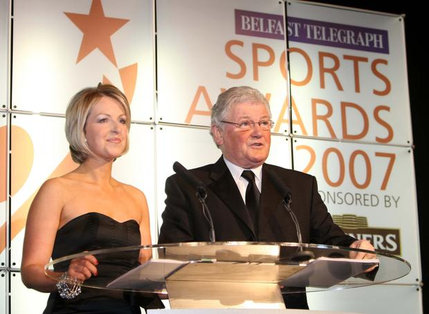 Karen with Jackie Fullerton hosting the Belfast Telegraph Sports Awards in 2007