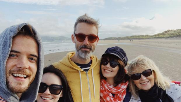 Fun time: Aine (second right) with (from left) her sister Mairead's husband Ronan Scolard, Mairead, Aine's husband Jason Robbins and her mum Marie