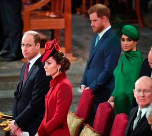 Harry and Meghan standing behind William and Kate during the Commonwealth Service at Westminster Abbey in March